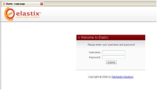 Вход в систему Elastix